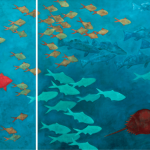 "Declining Fishes Of The North Atlantic (detail). 18""x40"" And 36""x40"" Panel. 2007."