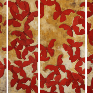 "Atlas Moths (Habitat Loss Series). Oil On Canvas. 12"" X 36"" And 18"" X 36"" Panels. 2014."