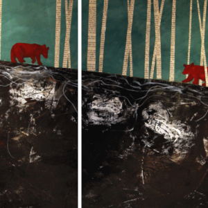 "Black Bears (Habitat Fragmentation Series). Oil And Newspaper On Canvas. 15"" X 22"". 2013."