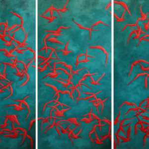 "Scarlet Tanagers (Light Pollution Series). Oil On Canvas. 24"" X 48"" Panels. 2014."