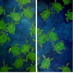 "Green Sea Turtles (Exploitation Series). Oil On Canvas. 15"" X 30"" Panels. 2006."