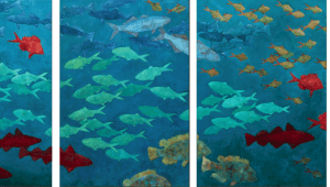 "Declining Fishes Of The North Atlantic (Exploitation Series). Oil On Canvas. 230"" X 40"". 2007."