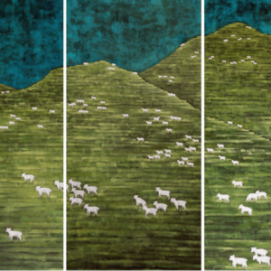 "Sheep (Exploitation Series). Oil On Canvas. 48"" X 24"" Panels. 2010."