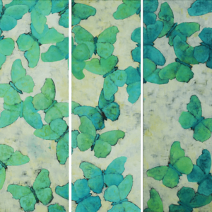 "Green Moths (Pollution Series). Oil On Canvas. 15"" X 45"" Panels. 2006."