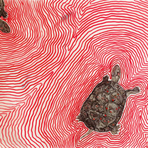 Spotted Turtles, Oil On Mylar, 2016.