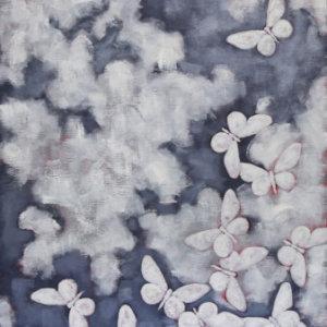 White Flower Moths, 2017. Oil On Canvas, 60 X 20 In. (152.4 X 50.8 Cm)
